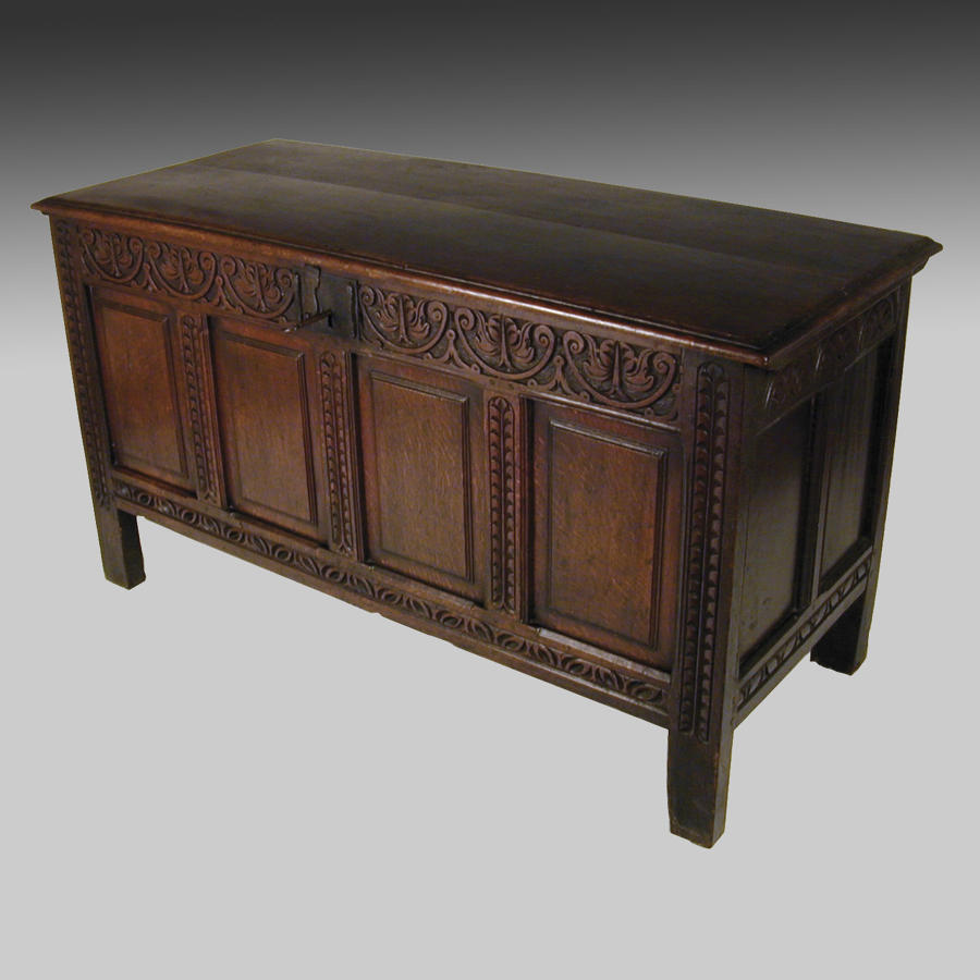 17th century panelled oak coffer