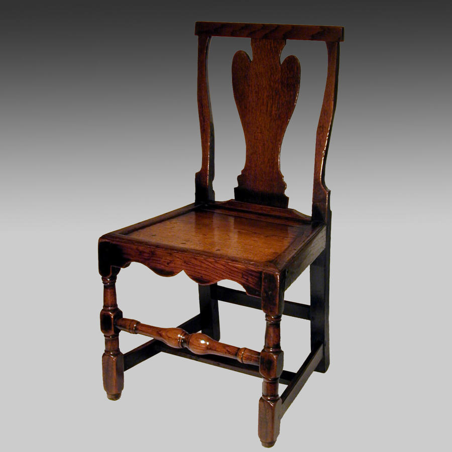 18th century oak spoon back single chair