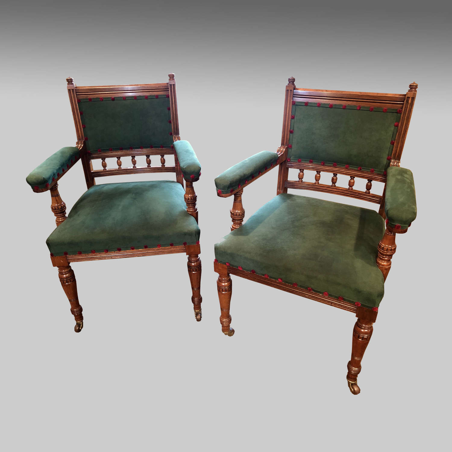 Pr. Scottish 19thC antique walnut armchairs by J & T Scott, Edinburgh