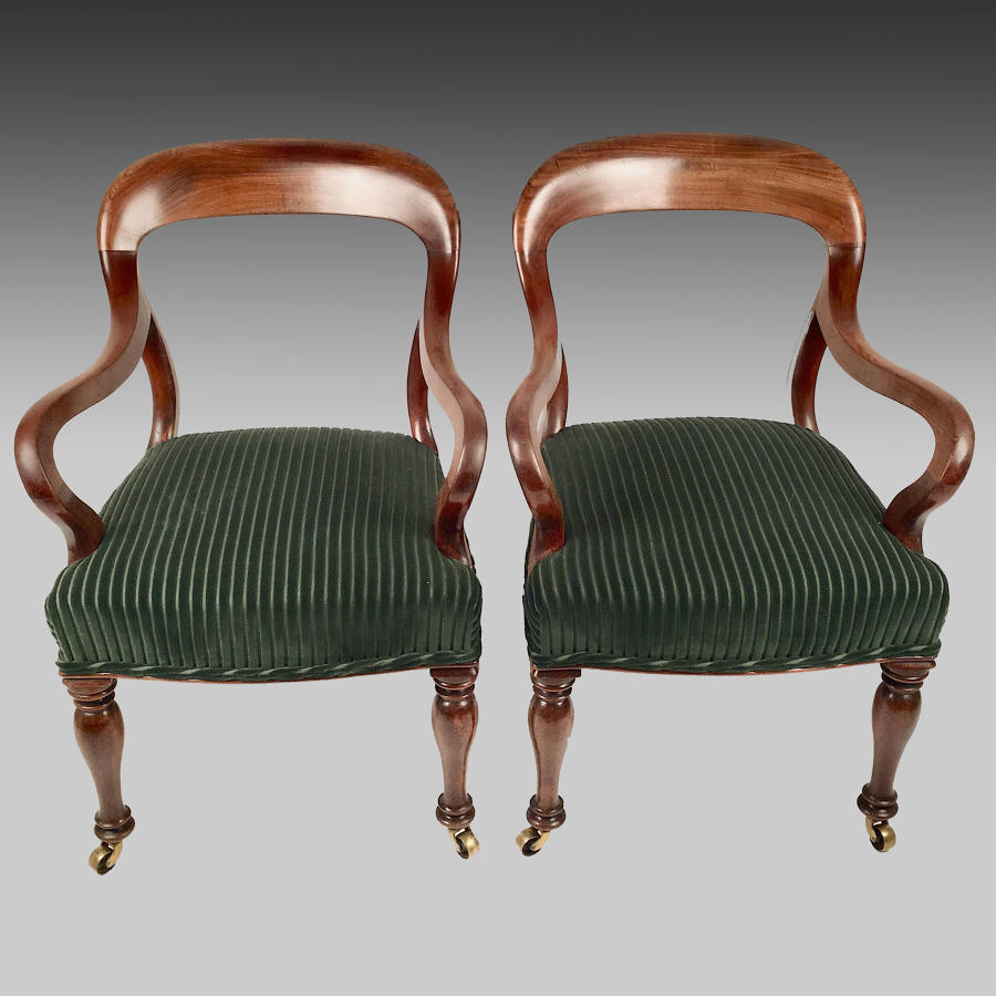Pair of antique mahogany framed armchairs
