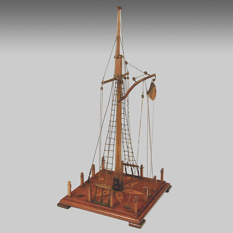 19th century fully rigged French model of a naval flagpole,