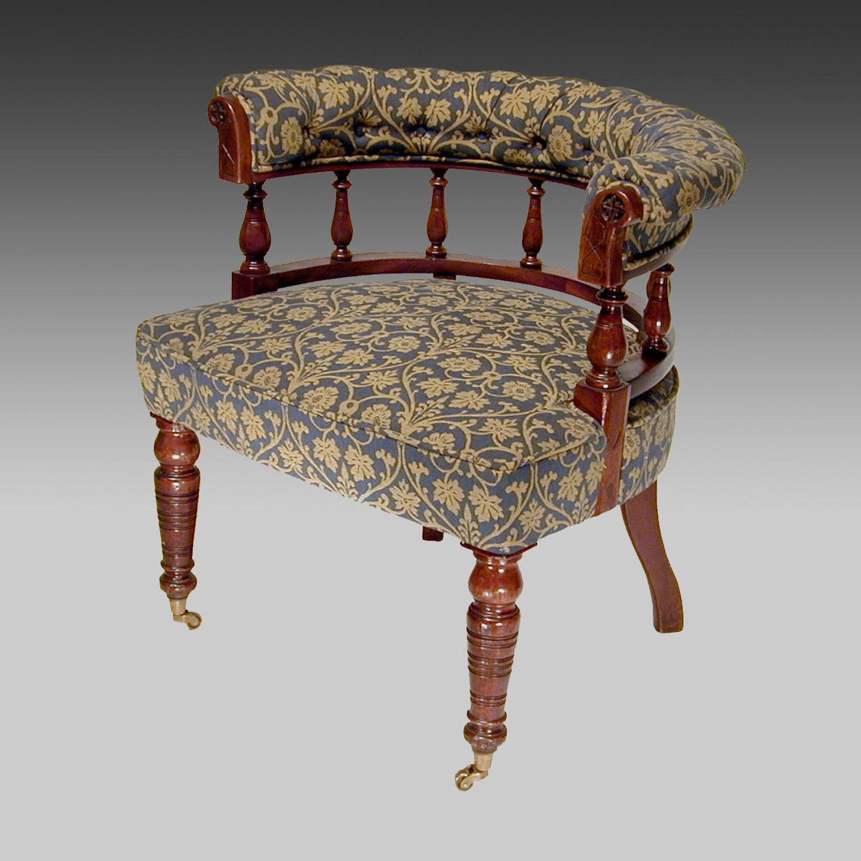 19th century walnut framed library tub chair