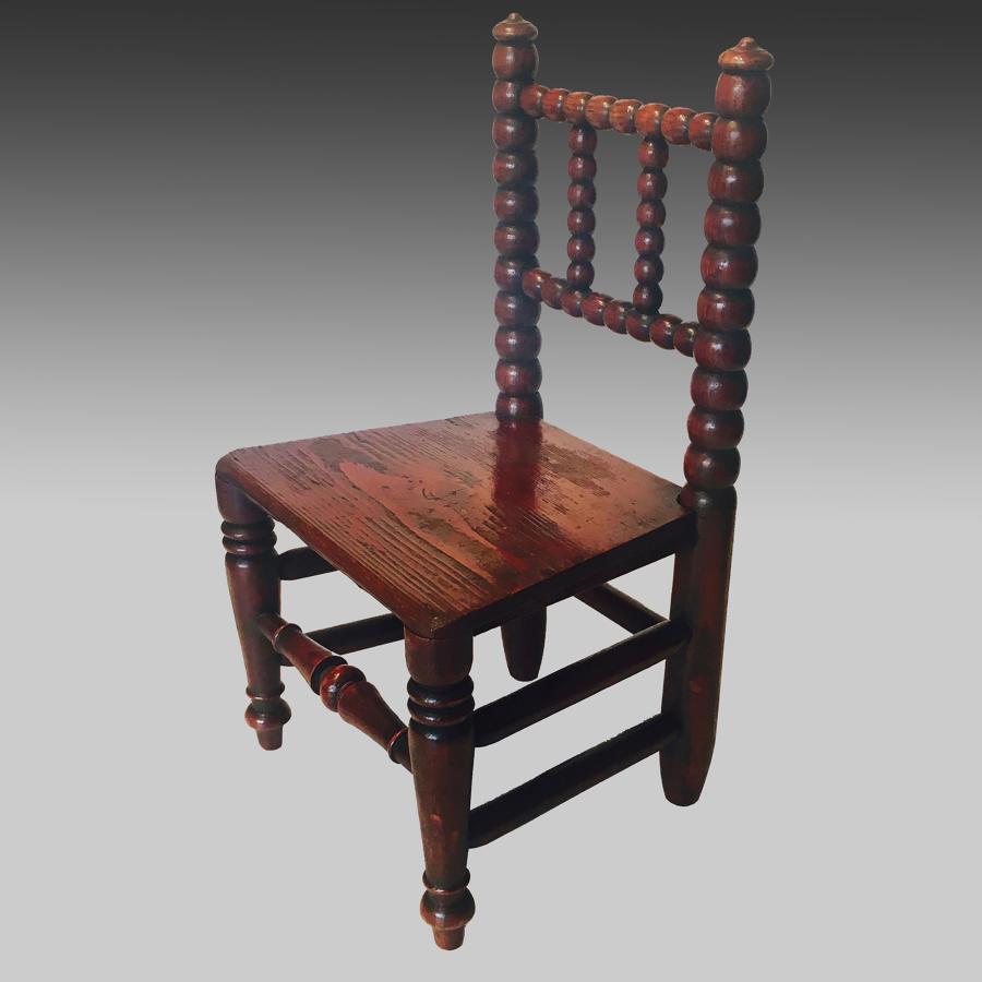Miniature antique 19th century folk art turned chair