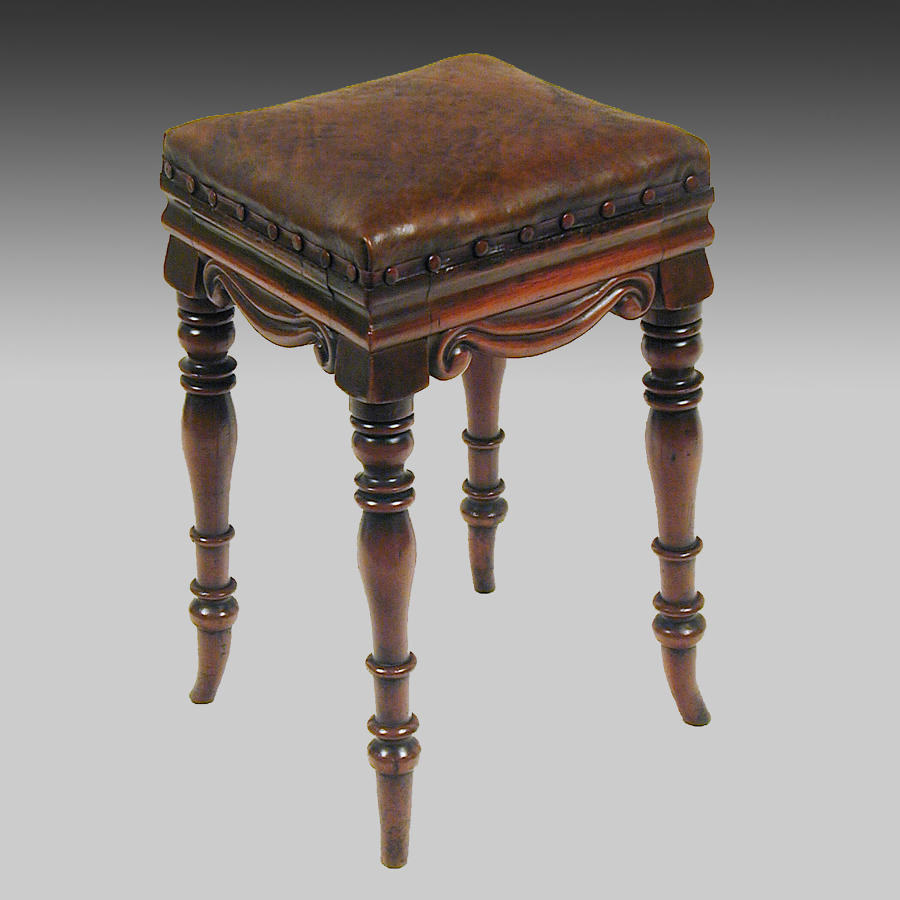19th century mahogany high stool