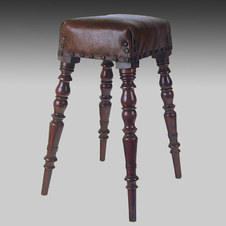 Antique 19th century yew wood high stool