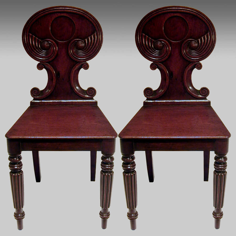 Pair Regency mahogany hall chairs