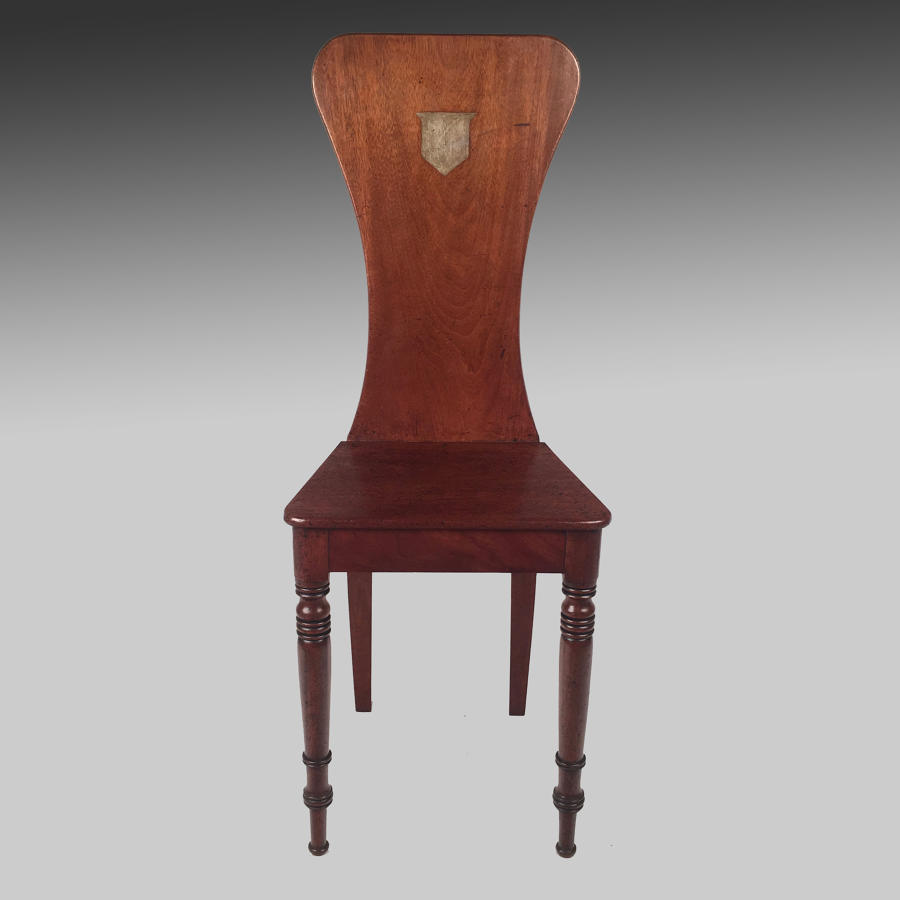Georgian mahogany Scabello hall chair