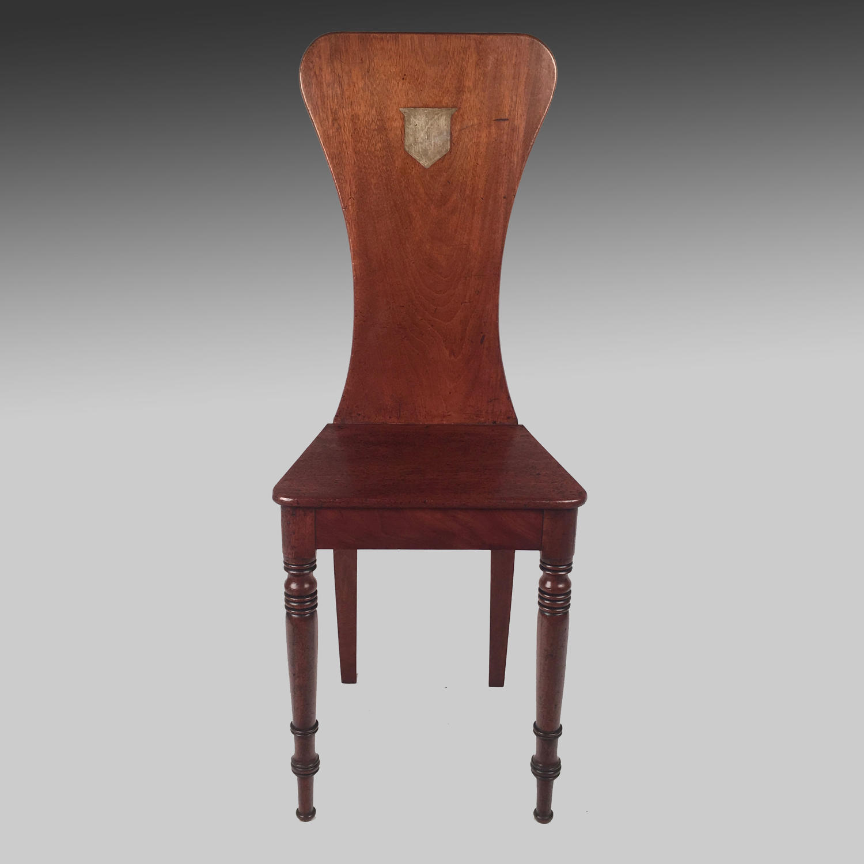 Georgian mahogany Scabello hall chair