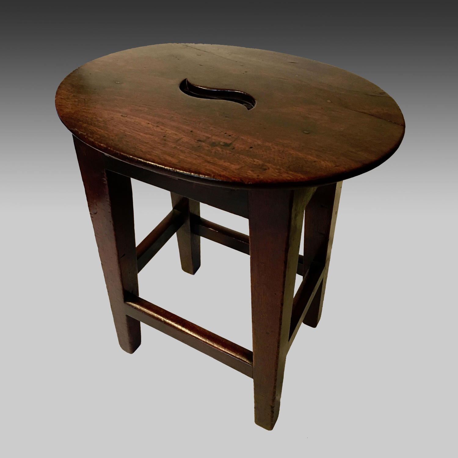 Small mid 19th century antique mahogany oval child's stool