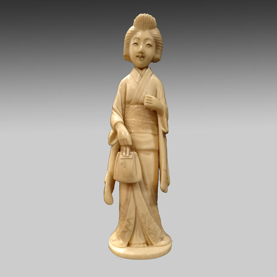 Antique Japanese Ivory Okimono of a Bijin
