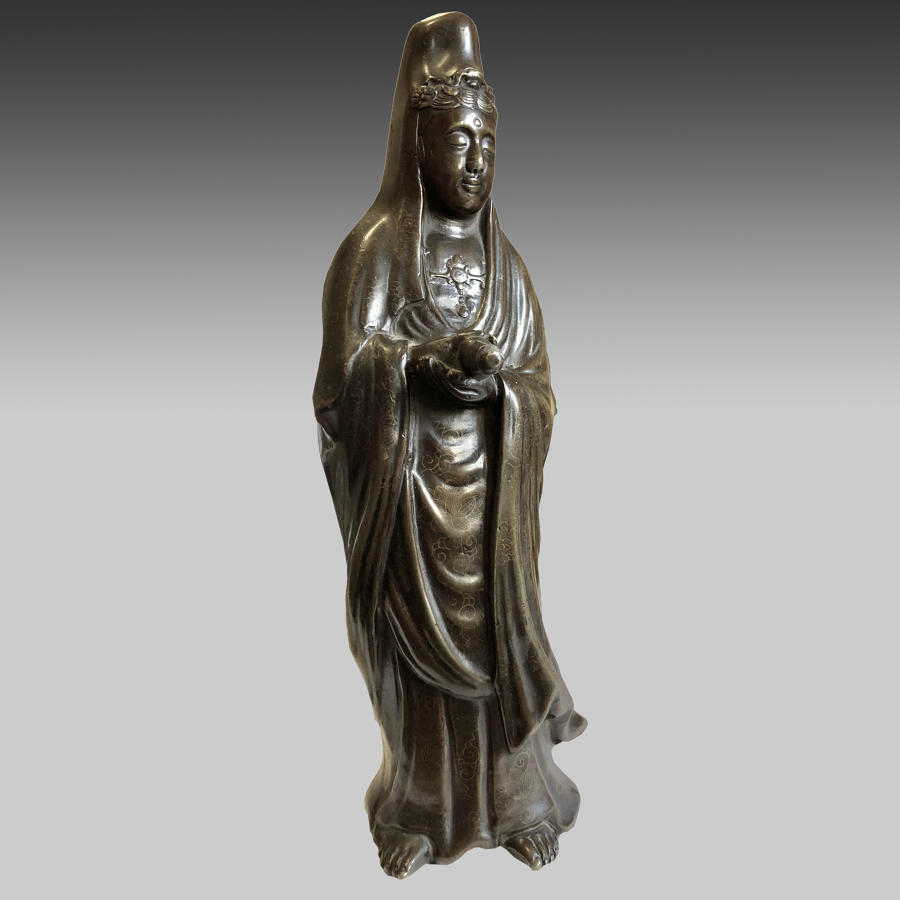 Antique Chinese bronze statue of Guanyin
