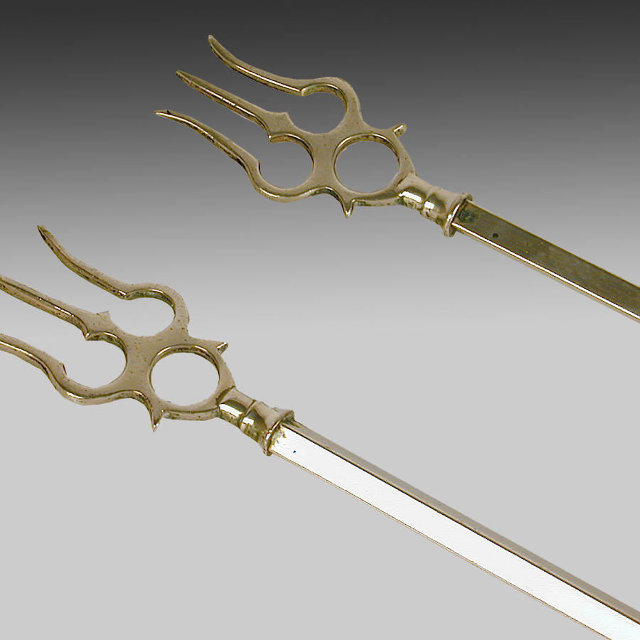 Pair of antique brass toasting forks