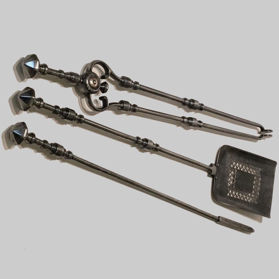 Set of antique Georgian cut steel fire irons