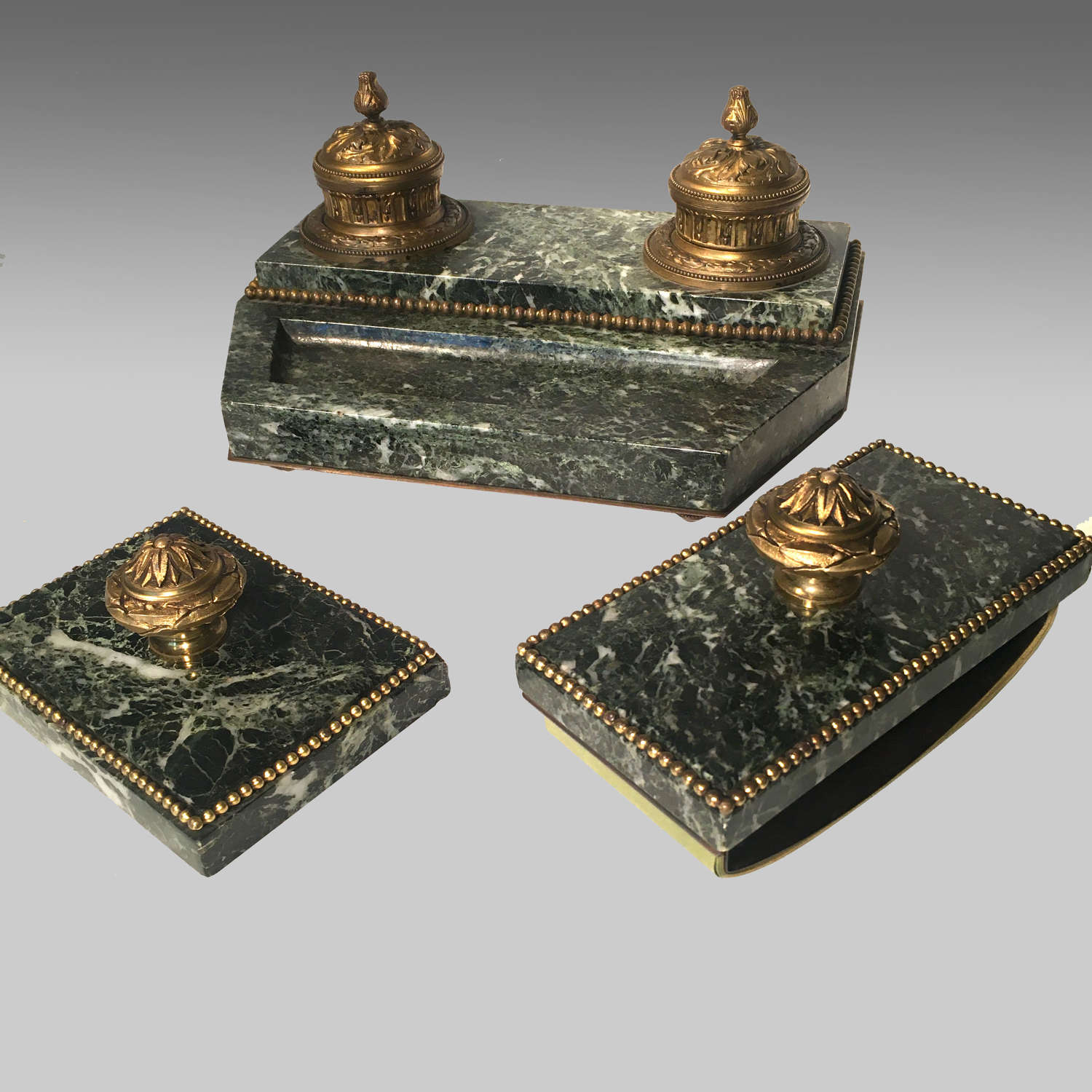 Vert antique marble and ormolu mounted desk set
