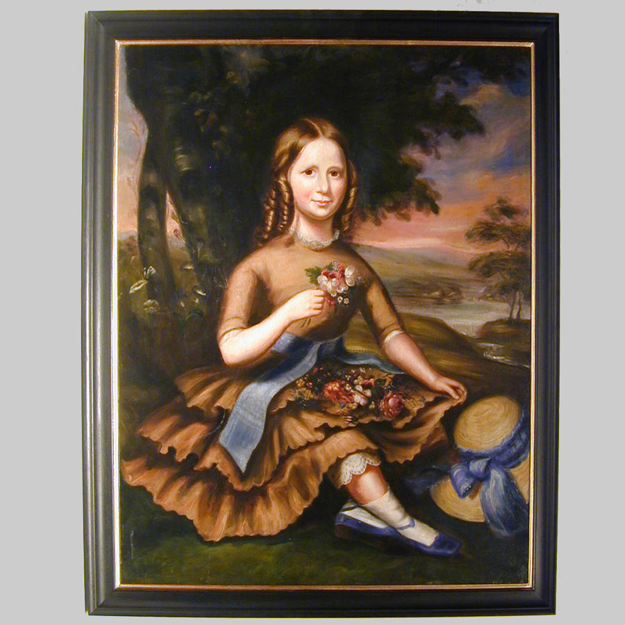 Primitive 19th century portrait of a girl with posy