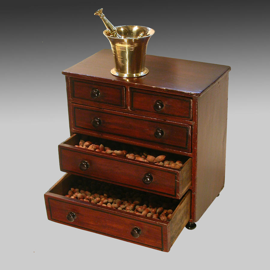19th century miniature spice chest