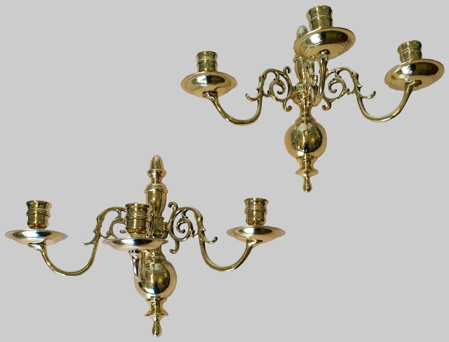 Pair 19th century cast brass wall sconces