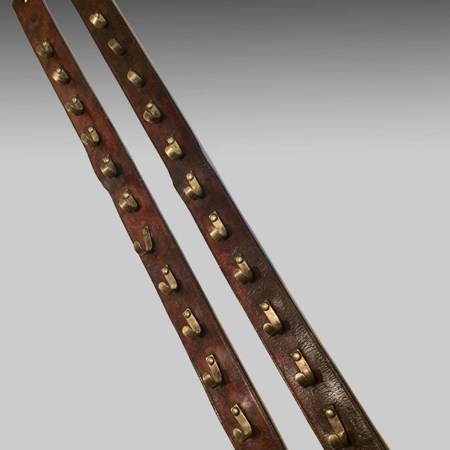 Vintage leather and brass hanging rack