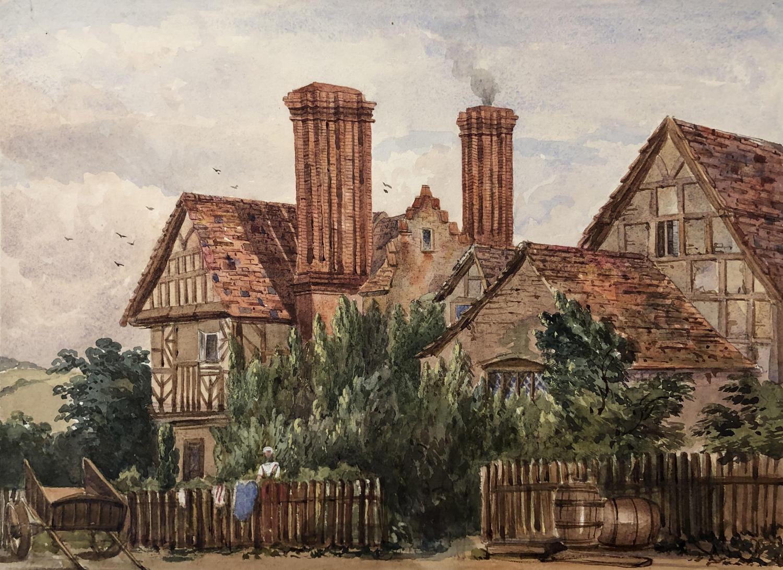Watercolour of Lower Farm House, Boraston, Shrops. by Harriet Rushout