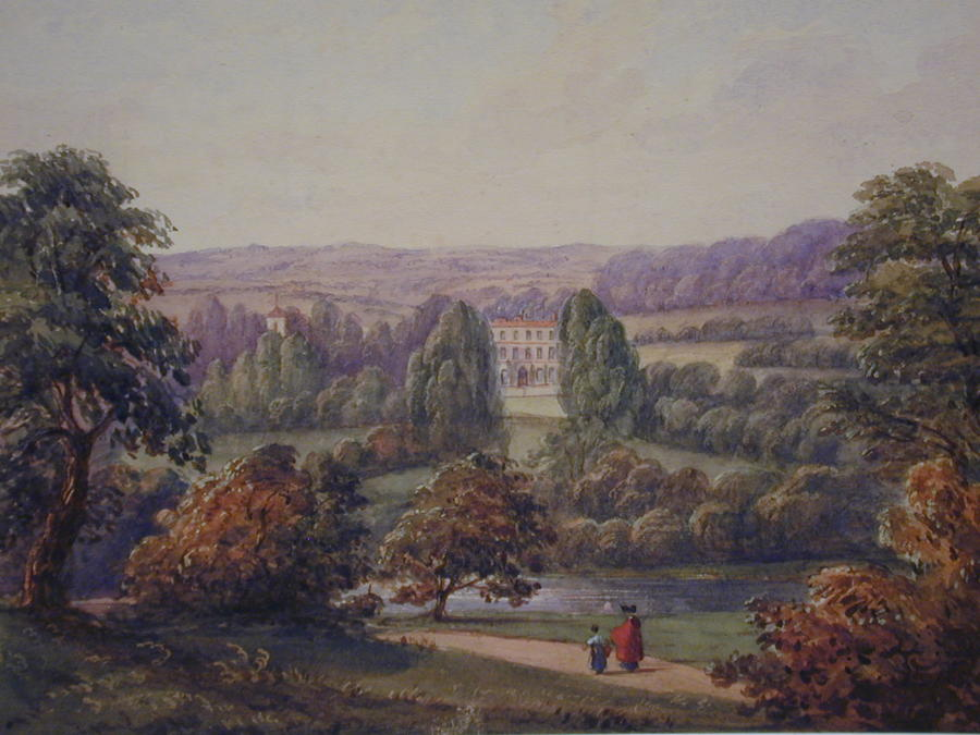 Watercolour, Burford House, Shropshire by the Hon. Harriet Rushout