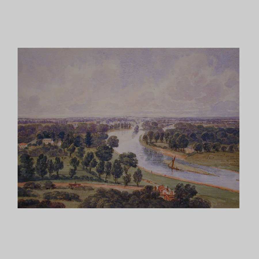 19th century watercolour-The Thames-Richmond Hill by Harriet Rushout
