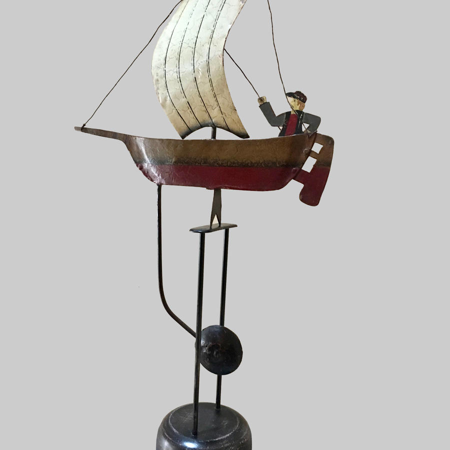 Vintage Folk Art mobile of sail boat