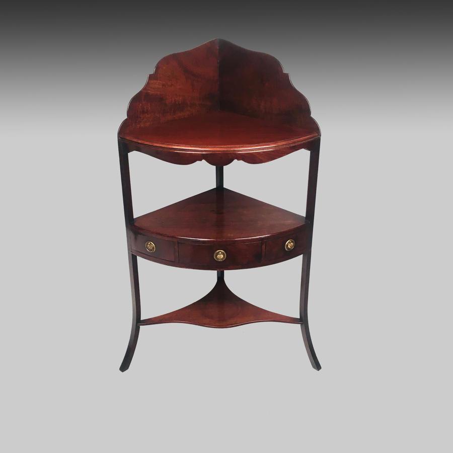 Antique Sheraton mahogany corner washstand
