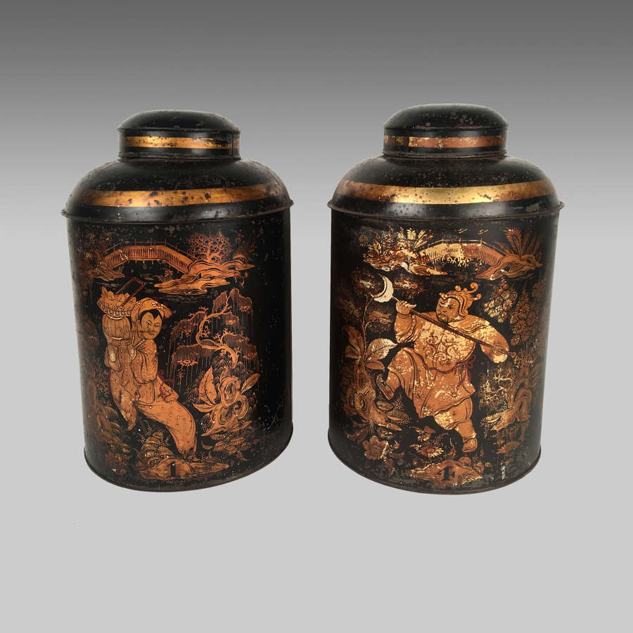 Pair of antique 19th century tea canisters