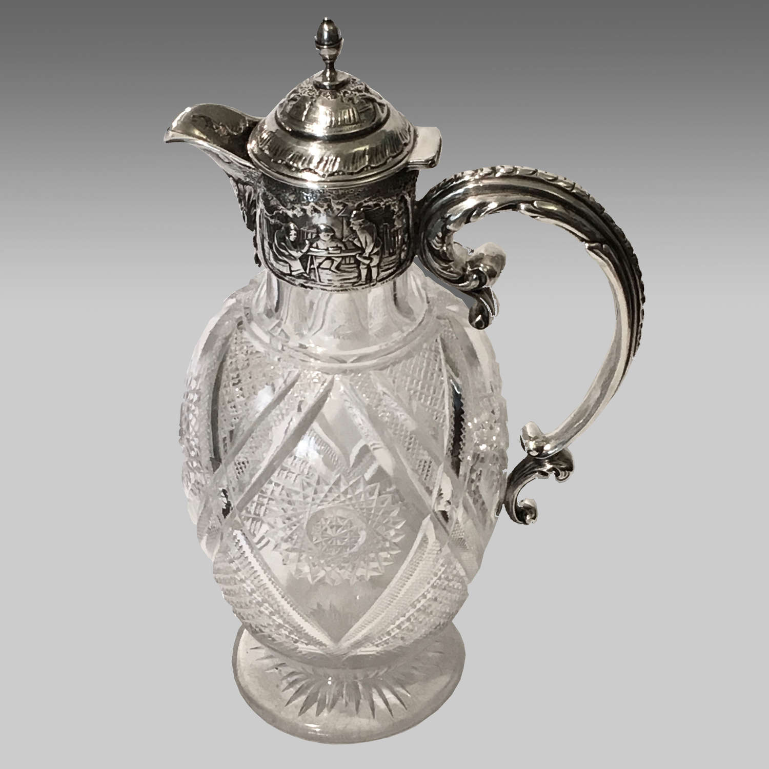 19th century silver and cut glass claret jug