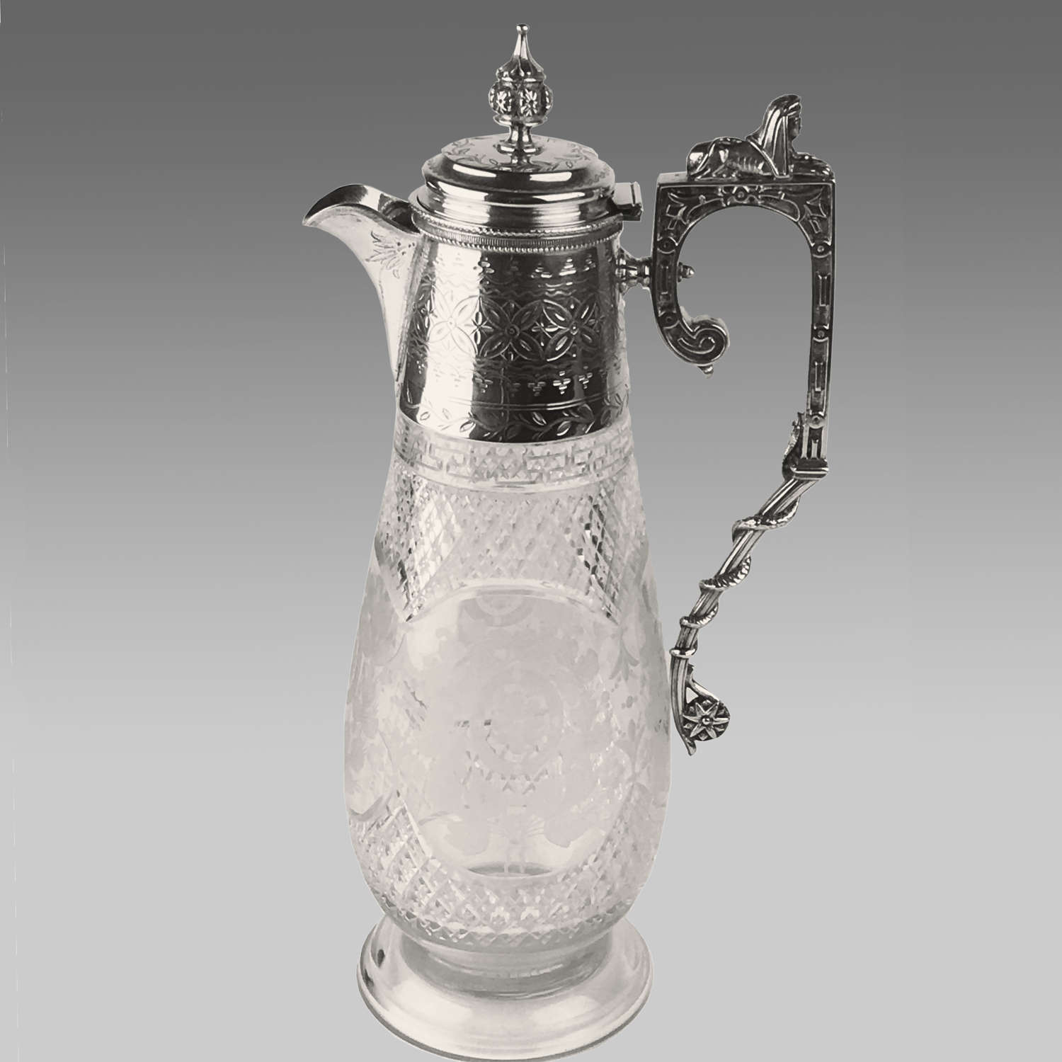 19th century silver-plated claret jug
