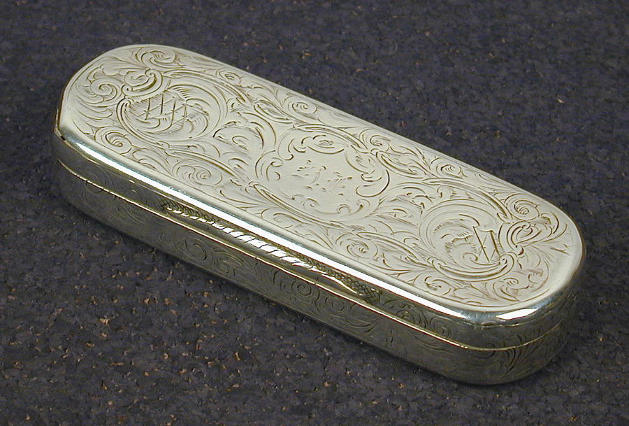 19th century silver snuff box by Nathanial Mills