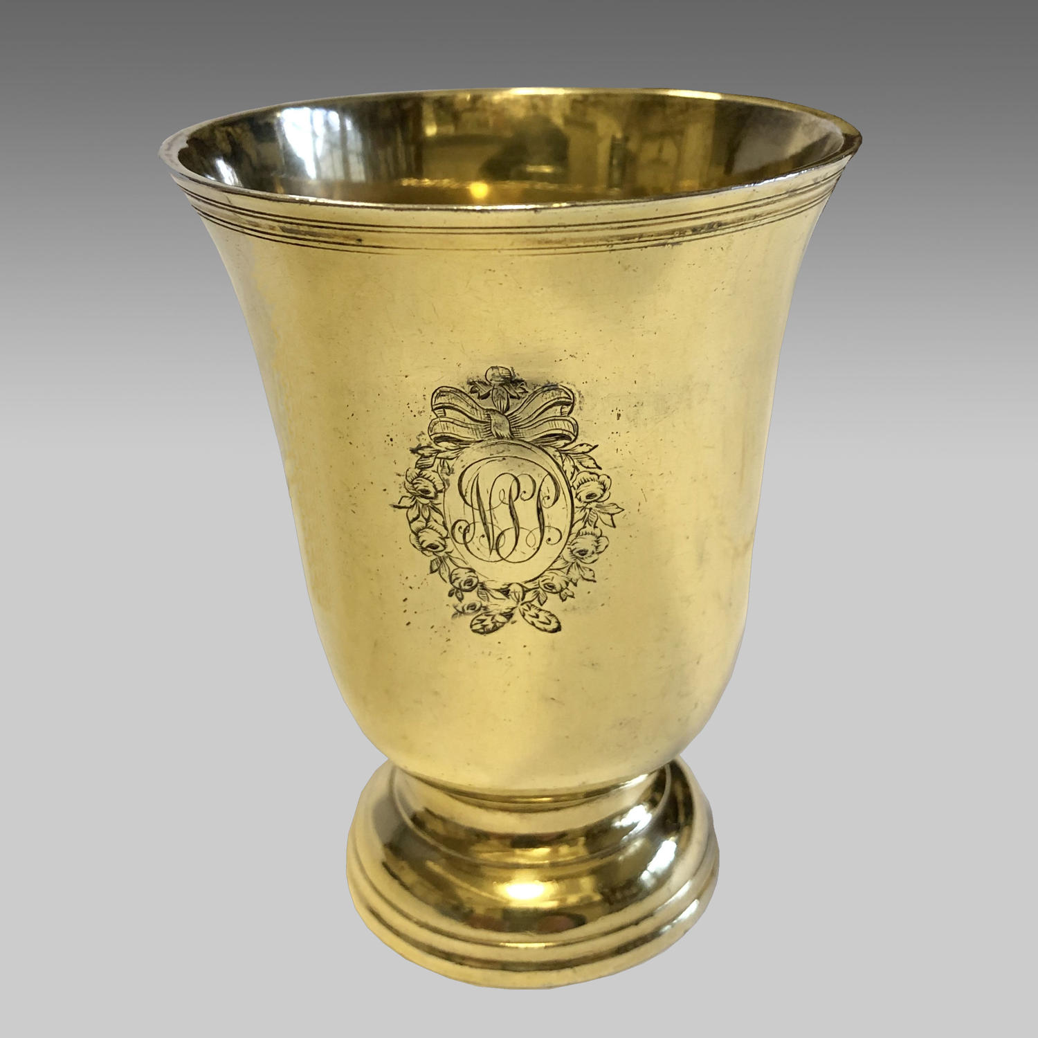 Fine 18th century antique French silver gilt beaker