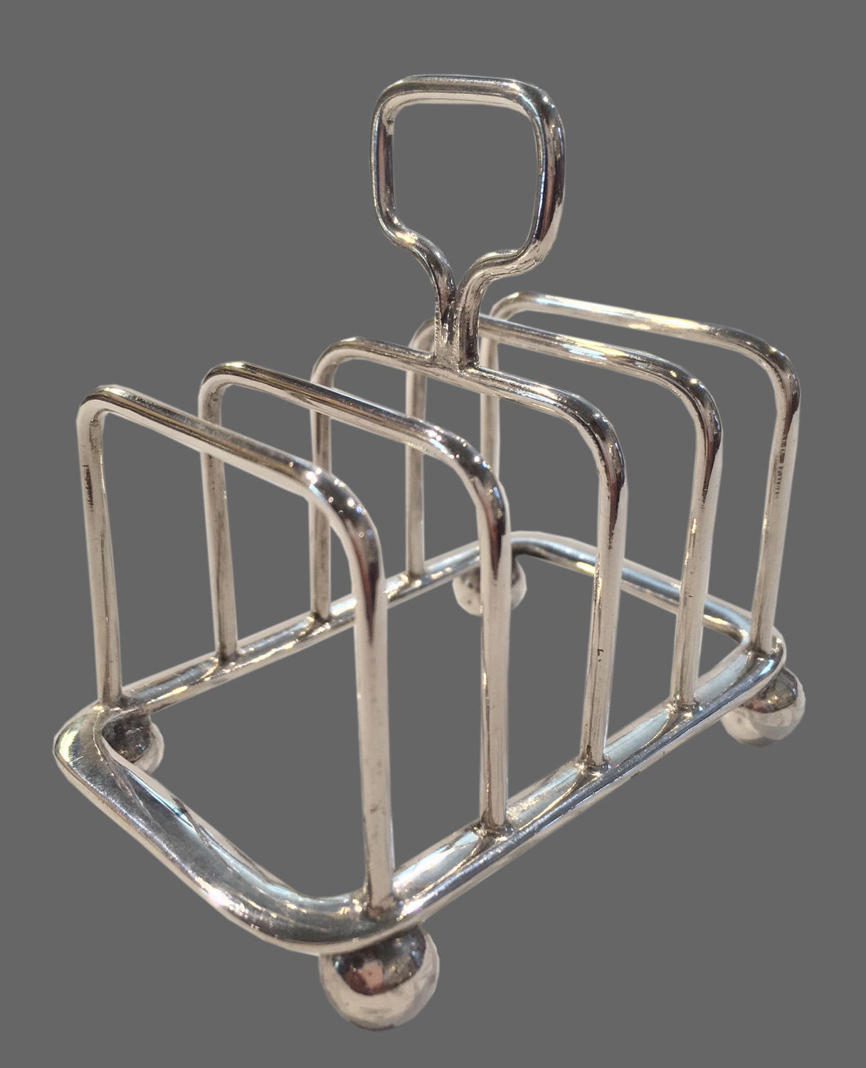 Small antique English silver plate toast rack