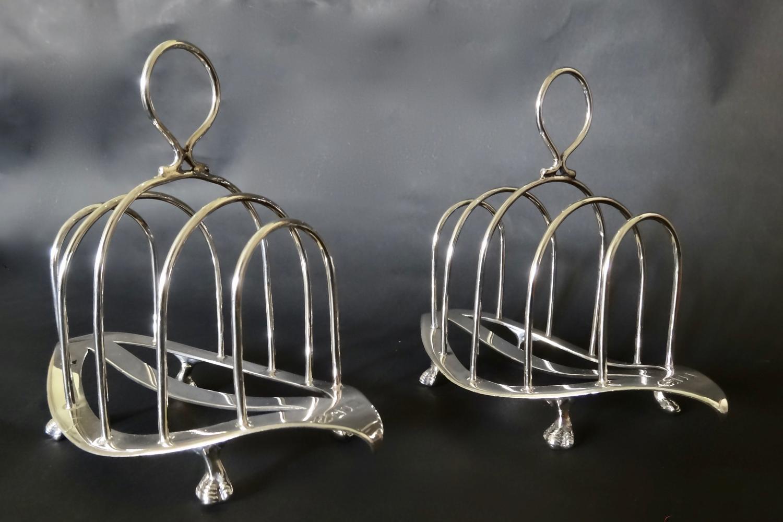 Pair of Antique English silver toast racks