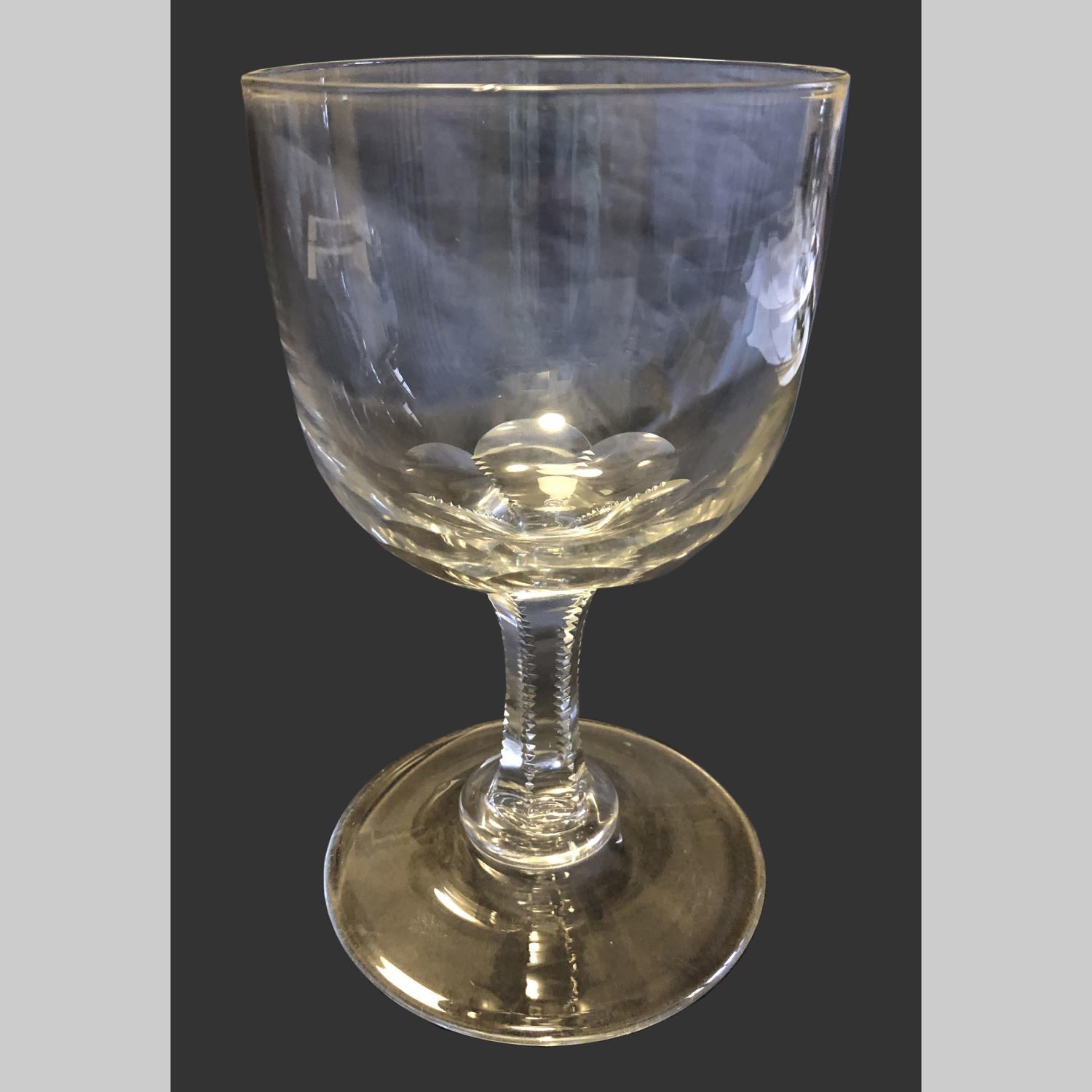 Large antique English Georgian glass rummer.