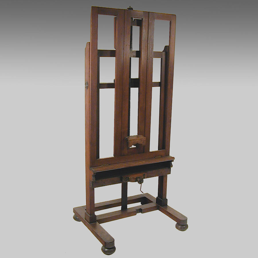 Large walnut artist's studio easel