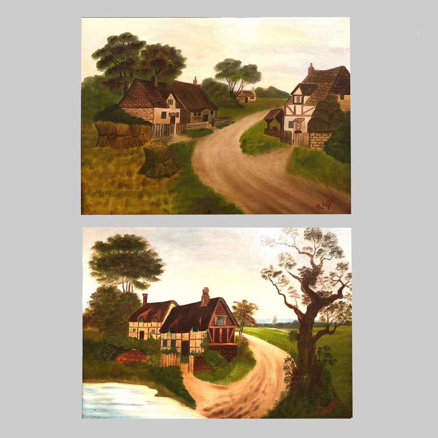Pair primitive landscapes on canvas