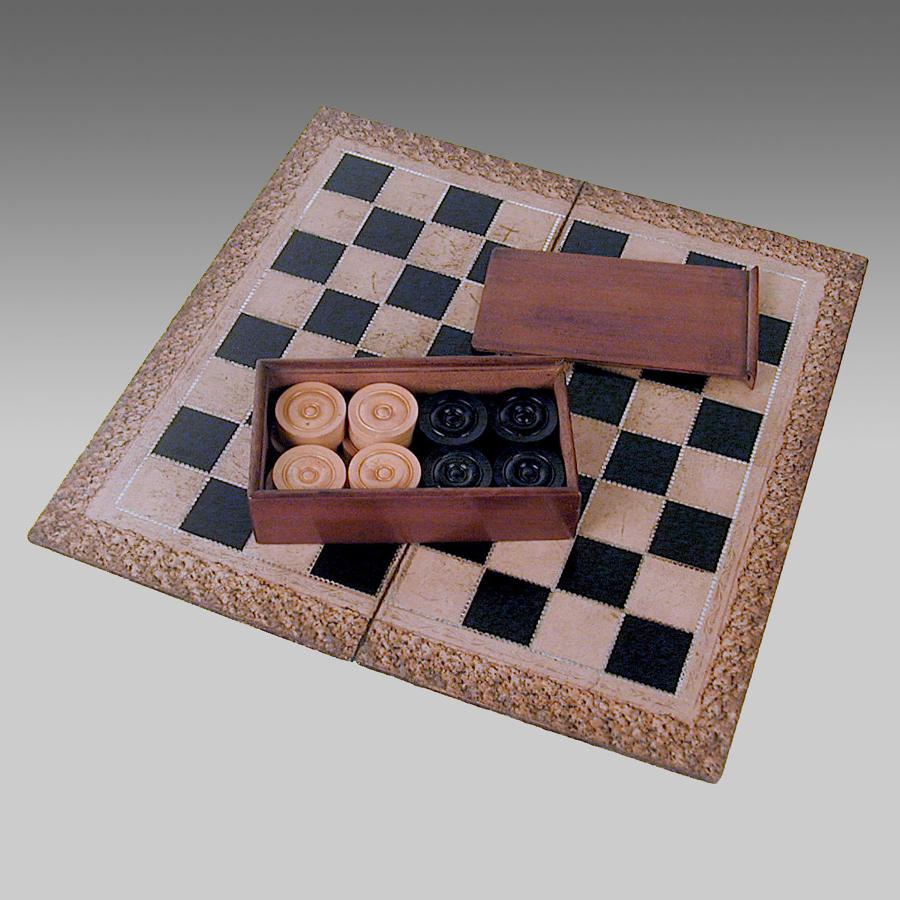 Antique mahogany boxed set of draughtsmen