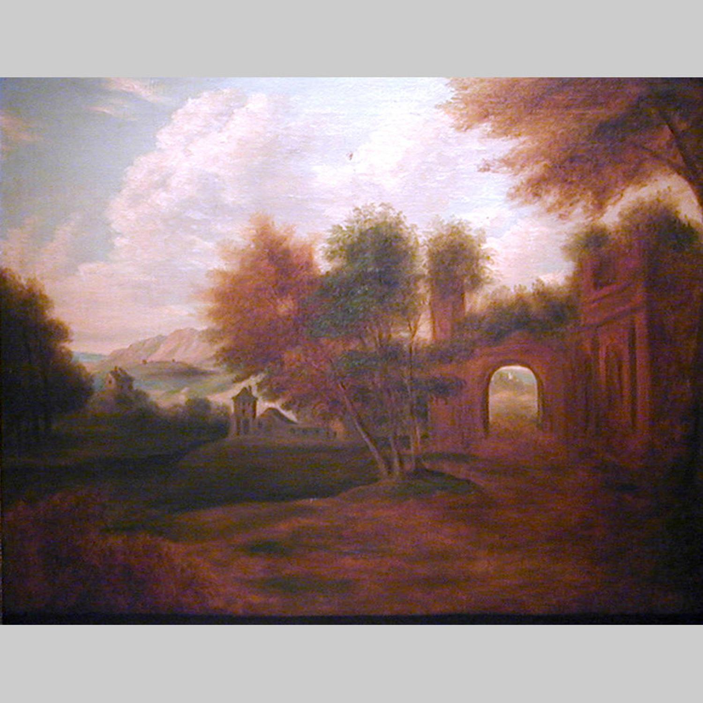 18th century capriccio landscape in silver gilt frame