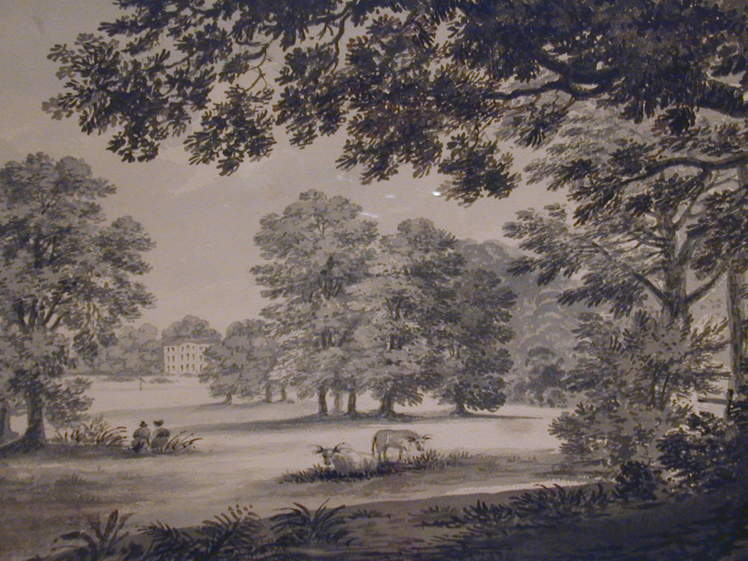 Pair watercolours, Wanstead Grove, Essex by the Hon. Harriet Rushout
