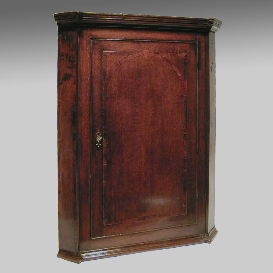 Antique Georgian oak hanging corner cupboard