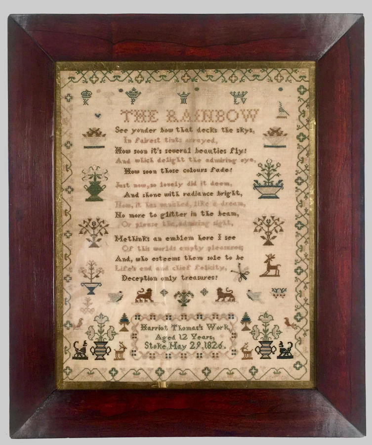 Antique Regency, rosewood framed sampler