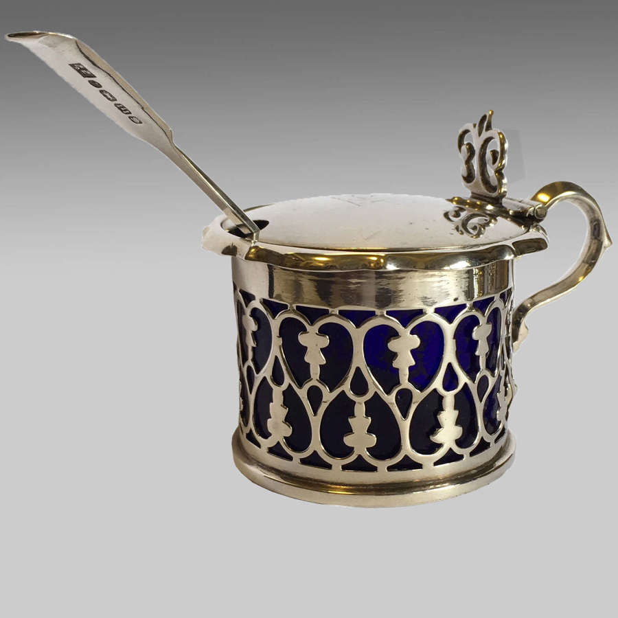 English silver 19th century mustard pot and spoon