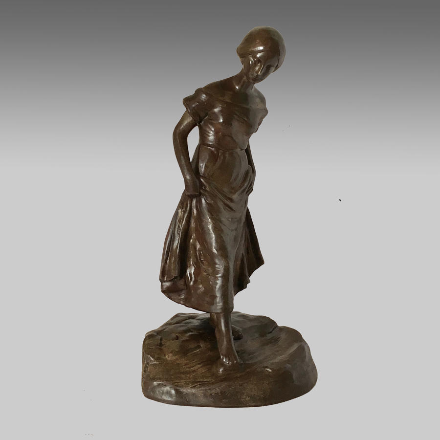 Austrian, Art Nouveau, bronze figure of girl
