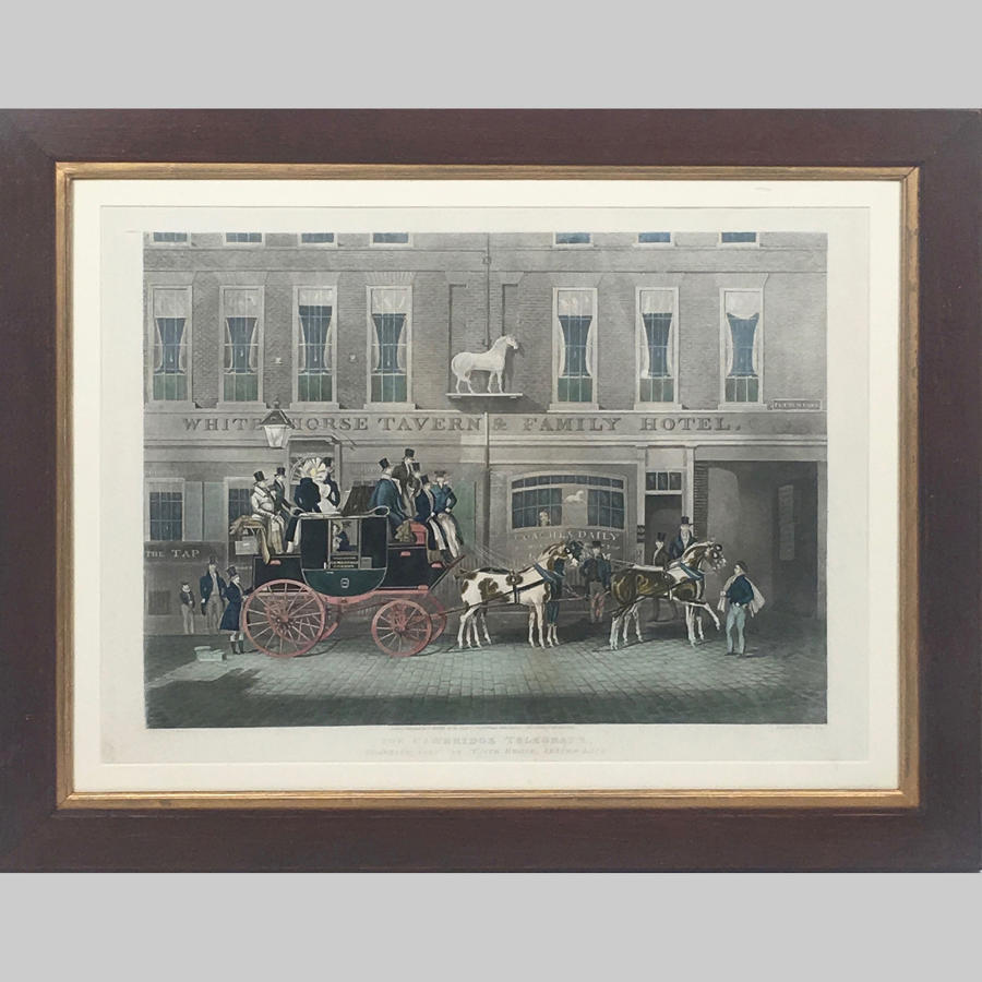 Antique coloured coaching Aquatint 'The Cambridge Telegraph'