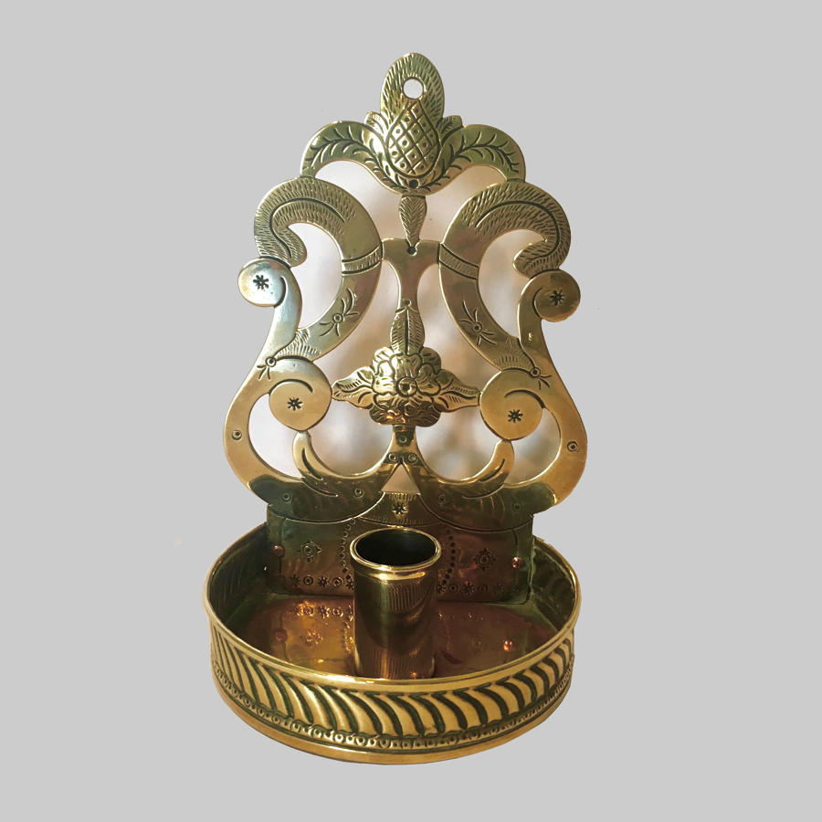 19th century engraved brass wall sconce