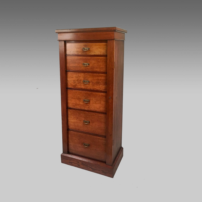 19th century oak wellington chest