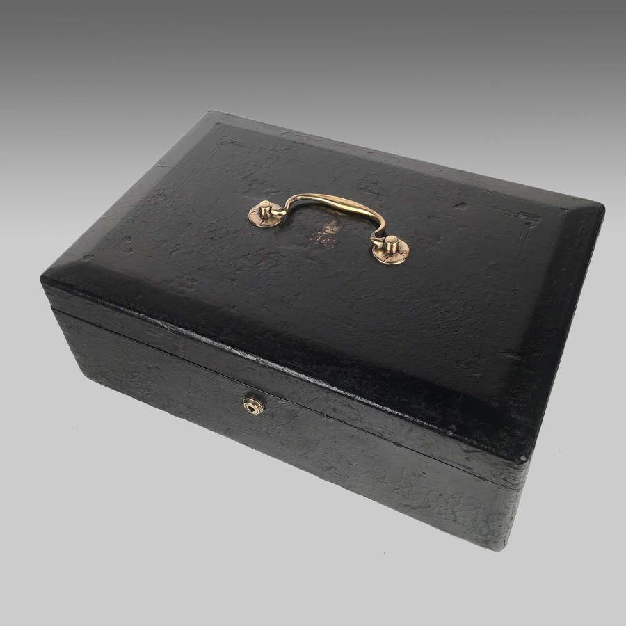 Black leather Government despatch box by William Wickwar & Company