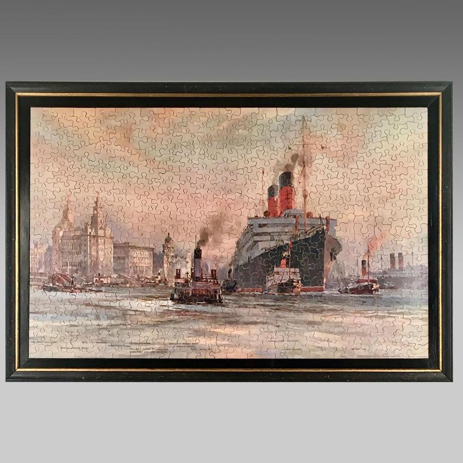 Vintage jigsaw puzzle,  Cunard Liner 'Carmania' leaving Liverpool