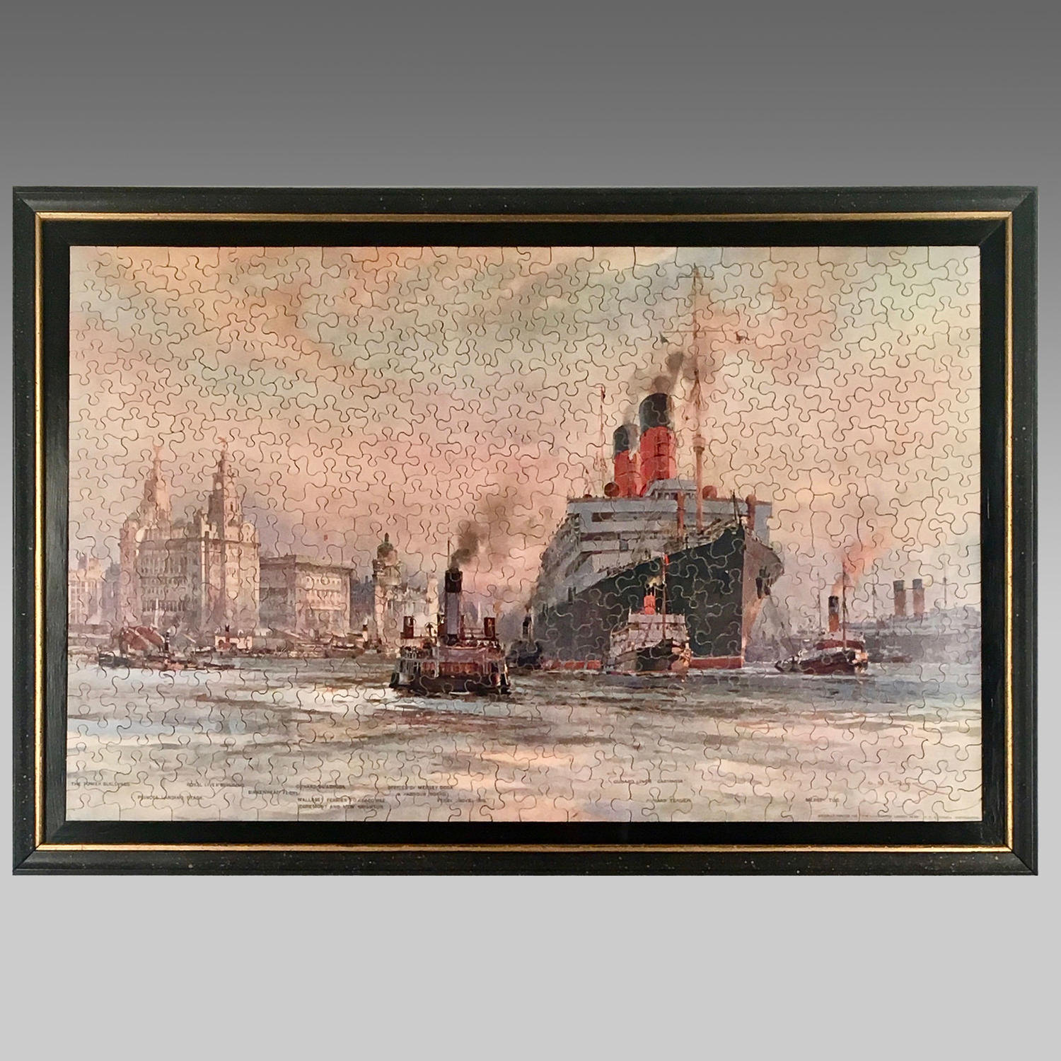 Vintage jigsaw puzzle,  Cunard Liner 'Carmania' leaving Liverpool